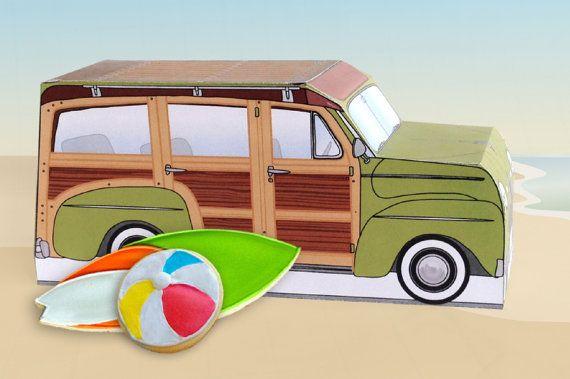 Retro Woodie Surfer Wagon Box Kit - Green - Woody Car Cupcake Box - DIY Printable PDF Kit - INSTANT Download $7.99