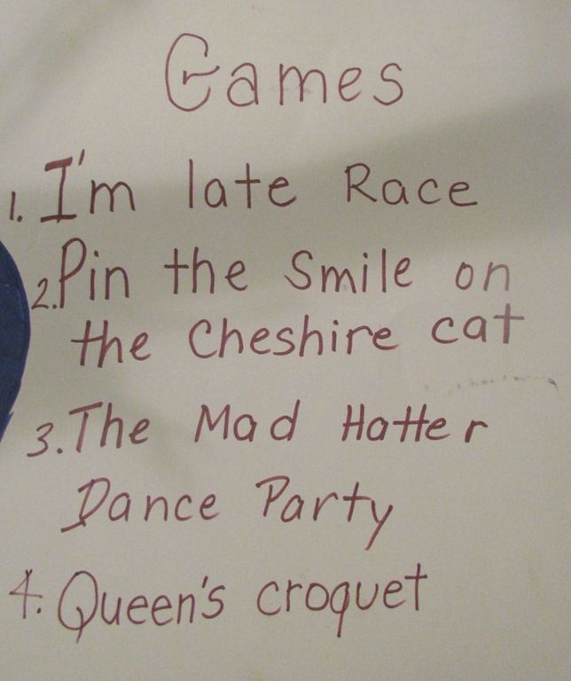 1. Clean Cup musical chairs 2. Pin the Smile on the Cheshire Cat 3. Queen's Croquet  4. Mad Hatter hat decorating 5. I'm Late Pocketwatch Craft