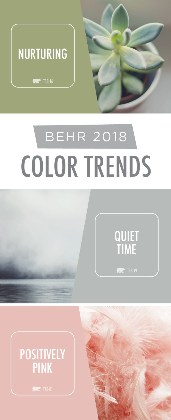 The BEHR 2018 Color Trends are all about soft, soothing paint shades that are sure to create a sense of relaxation in your home. Click here to see how you can use BEHR Paint colors like Nurturing, Quiet Time, and Positively Pink in your interior design.