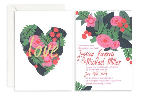 Tropical Love Wedding Invitation– Jo's Paperie #wedding #invitations #floral #template