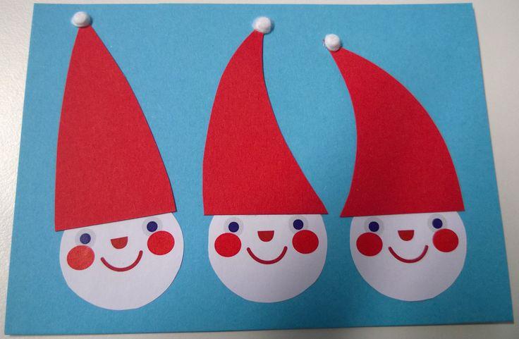 Joulukortti, johon idea Pikku Kakkosen tulostettavista tontunnaamoista. Kartonkia ja vanupuikkojen päät tupsuina. DIY, Pikku Kakkonen, helpot joulukortit, jouluaskartelu