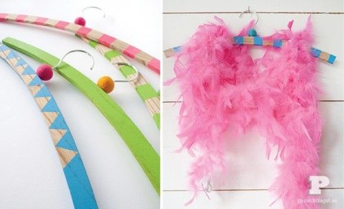 How To Make Colorful DIY Clothes Hangers -fun idea for N's dress up clothes- a craft we could do together too