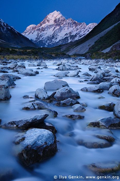 Hooker River and Aoraki/Mount Cook after Sunset, Mackenzie Region, Southern Alps, South Island, New Zealand. Aoraki/Mount Cook at sunset and the Hooker River in the foreground in the Aoraki Mt Cook National Park, Southern Alps, South Island, New Zealand.