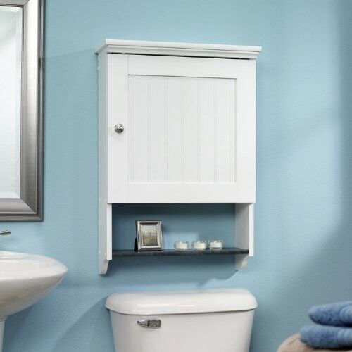 Bath Wall Storage Elegant Medicine Cabinet Organizer White Shower Shelf Unit