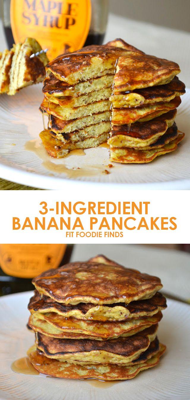3-Ingredient Banana Pancakes: breakfast could not be any easier! | Fit Foodie Finds |  Part of the #SummerSWEATSeries Week 3 Meal Plan - SO GOOD!