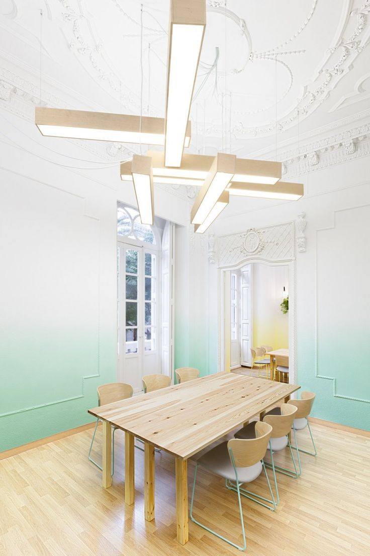 2day Languages School - fluorescent installation + ombre walls in classical architecture