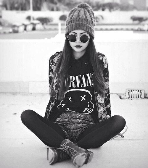 black and white, boots, dark, girl, glasses, grunge, hipster, indie, nirvana, outfit, photography, retro, rock, tumblr, vintage