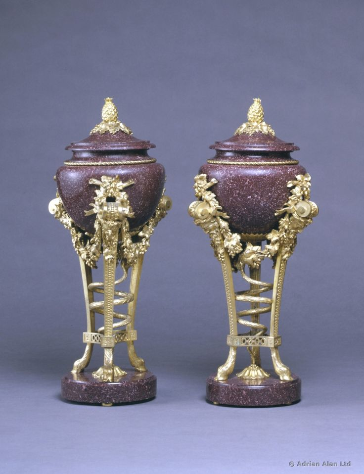 A Pair of Louis XVI Style Porphyry Urns, 1870, Fra…