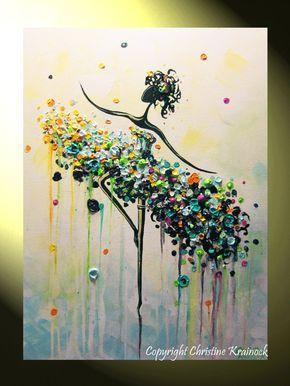 La bailarina gran impresión de Giclee, impresiones de la lona de acrílico abstracto pintura Ballet Danza arte colorido Aqua luz azul oro blanco rosa verde moderno espátula de Original textura Original impasto pared decoración Galería mixta pintura en 1.5 profunda galería envuelto de la lona. Se vende pintura original pieza original de arte creado por el artista internacional recogido, Christine Krainock. ----------------------------------------- * Seleccione el tamaño del - menú…