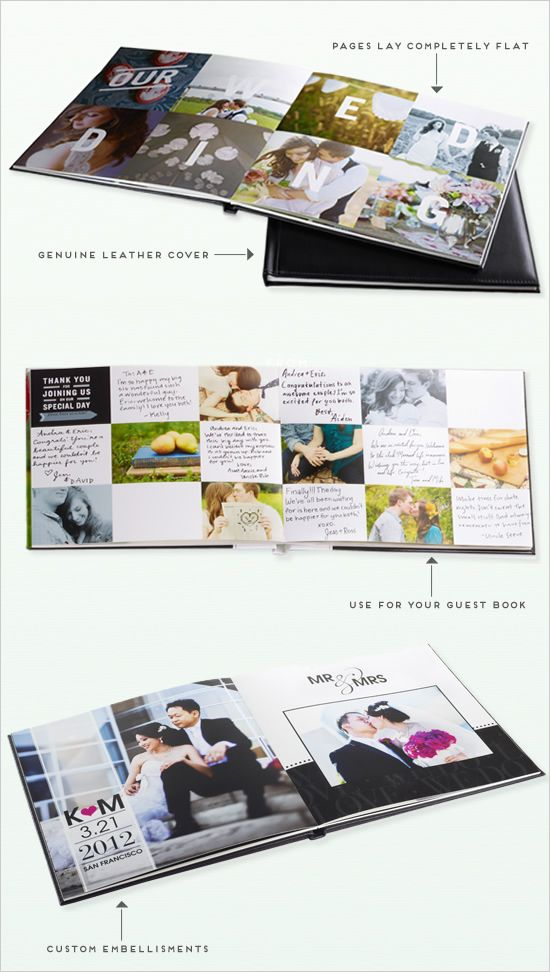 This was totally my idea! Although not with engagement picts... Shutterfly photobooks as a Guestbook with engagement photos