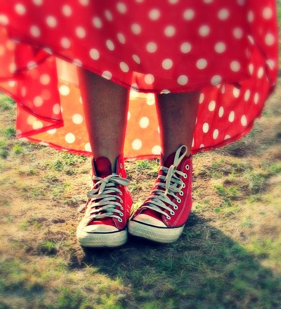red dress, red tennies.
