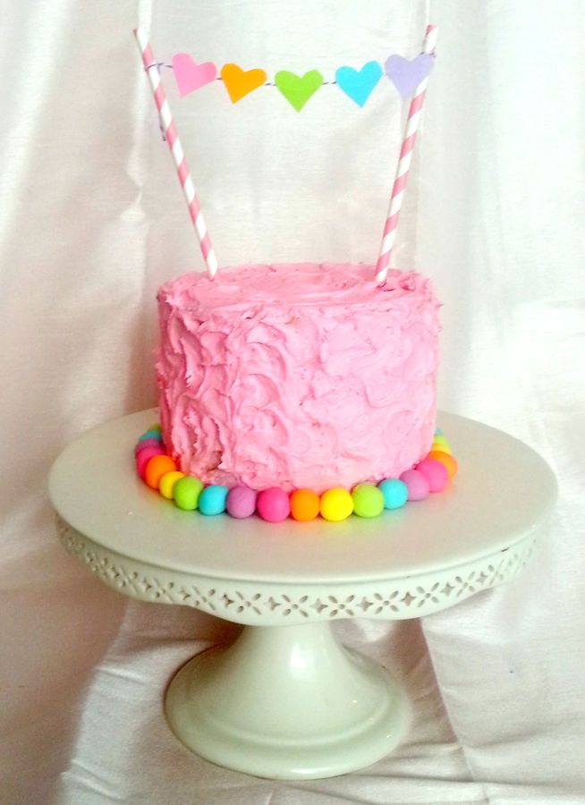 Rainbow Heart Smash Cake by Butterfly Sweets