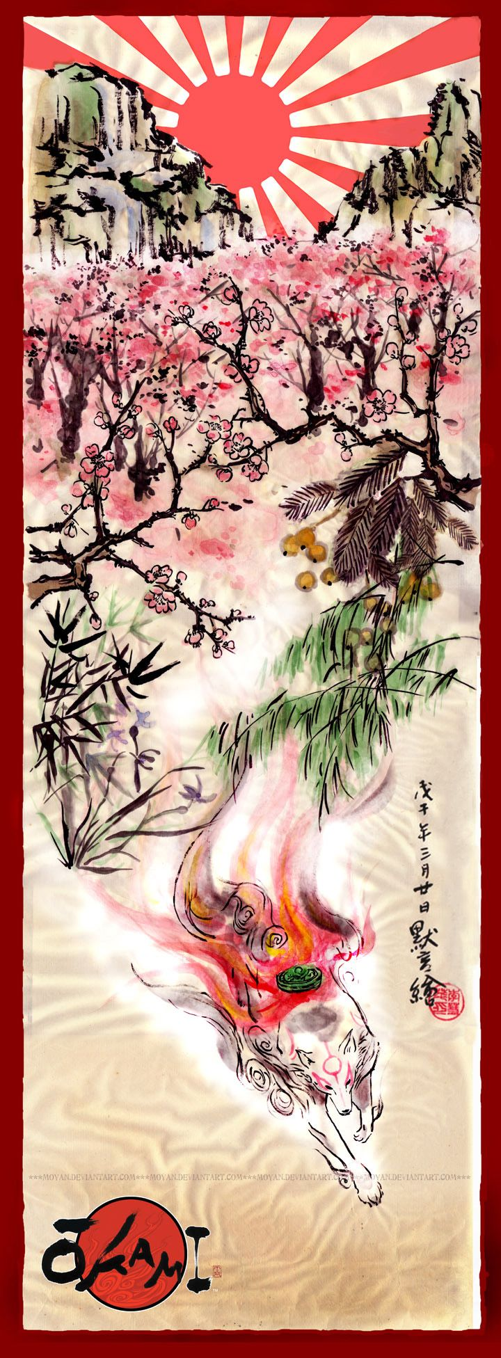 """Okami"" Japanese painting by Moyan Wish I knew what these said, but I like the fox a lot!>>>> THIS IS A VIDEO GAME POSTER. THAT IS THE SUN GODDESS AMATERASU IN THE FORM OF A WHITE DOG. HOW IN THE WORLD DOES THAT LOOK LIKE A FOX??"
