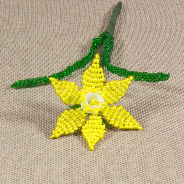 French beaded yellow narcissus / daffodil / jonquil flower made of glass seed beads / Beadwork flower/ Artificial flower/ Beaded flower http://etsy.me/2CO9UAU #housewares #homedecor #housewarming #valentinesday #bedroom #yellow #white #narcissus #beadedflower