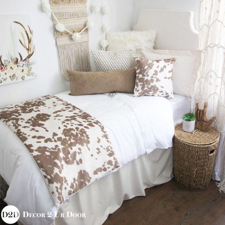 Hot Dorm Room Bedding Boho Inspired Tan Cowhide Designer Dorm Bedding Set Part 80