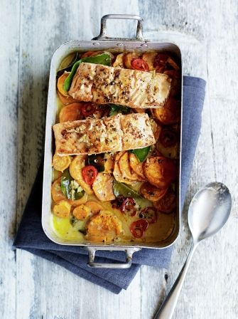 Enjoy Jamie's Asian inspired salmon and sweet potato tray bake as an easy…