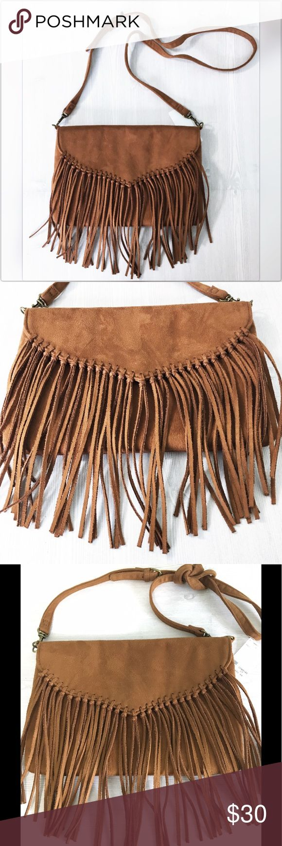 """Hobo Express Fringe Faux Suede CrossBody Bag NWT Hobo Chic!  CrossBody Fringe Faux Suede bag.  Adjustable strap is 20.5"""" at longest length.  Bag measures 10.5 x 7 inches.  Fringe measures approximately 6.5"""".  Brand New with Tags! Express Bags Crossbody Bags"""