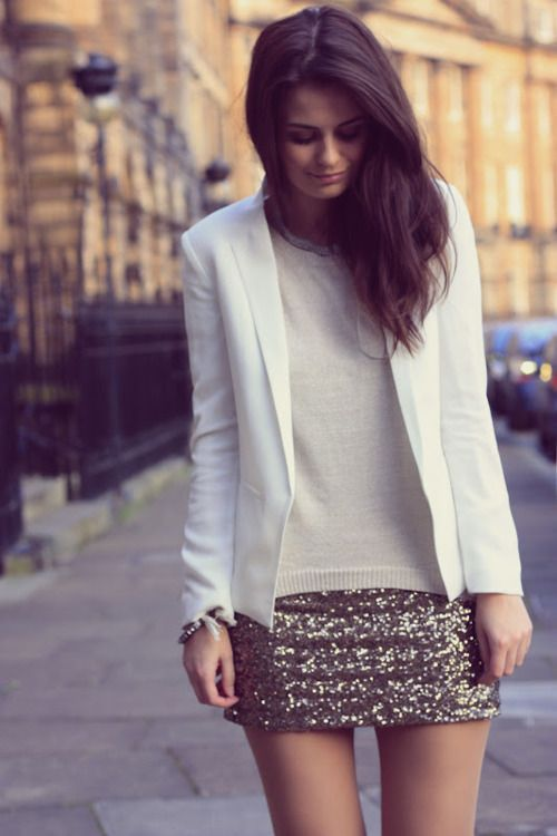 classic. statement skirt <3  Both sequin skirts, jean jacket, black thin sweater and tights with black booties. Or white t shirt, jean jacket, nude fishnets and Guess heels.... Two dinner outfits?