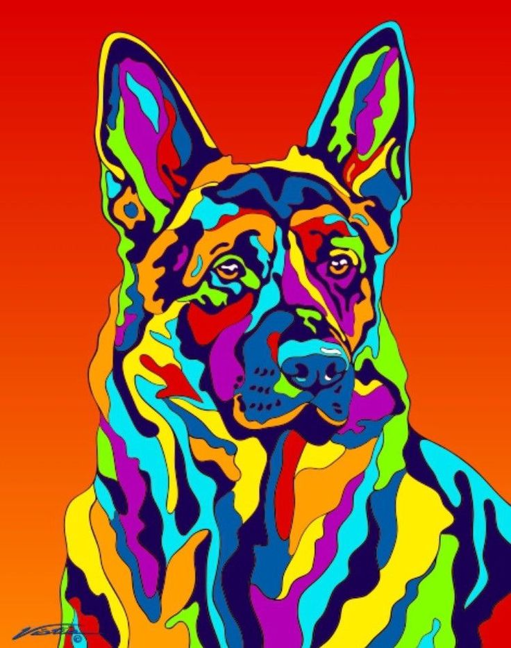 Multi-Color German Shepherd Dog Matted Prints & Canvas Giclées. Hand painted and printed in USA by the artist Michael Vistia. Dog Breed: The German Shepherd is a breed of medium to large-sized working