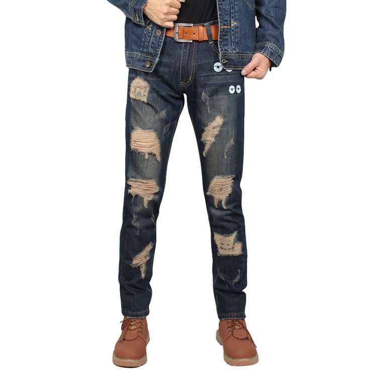 New Men Jeans Destroyed Ripped Design Fashion Zipper Skinny Jeans For Men Blue Size 28-38 #Affiliate