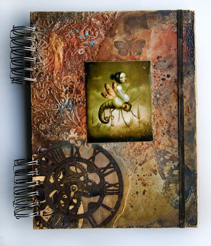 """Back cover of callendar with Nicoletta Cecoli paintinig and 7 Dots Studio """"Nature Walk"""" papers"""