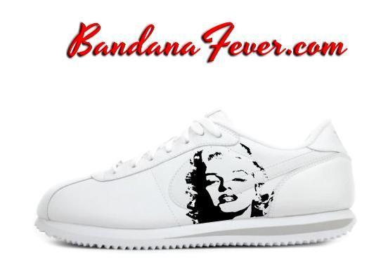 Custom Marilyn Monroe Nike Cortez Leather White/Grey, #marilynmonroe, #Nike #Shoes, by Bandana Fever
