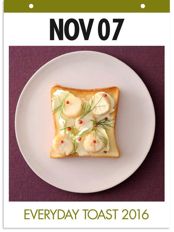 11月7日 「帆立トースト」 【使った材料】帆立貝柱、バター、サワークリーム、ディル、ピンクペッパー、オリーブオイル