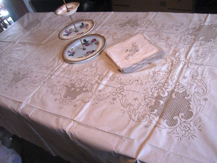 BANQUET Vintage MADEIRA EMBROIDERY CREAM Tablecloth 12 NAPKINS-108x72-UNUSED!