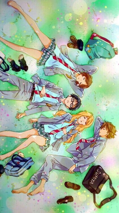 Kousei, Kaori, Tsubaki, Watari, cute, sleeping; Your Lie in April
