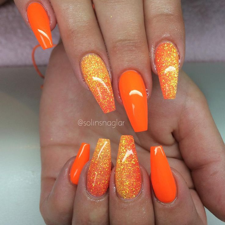Best 25 orange nail art ideas on pinterest orange nail spring 47 playful glitter nails that shines from every angle prinsesfo Gallery