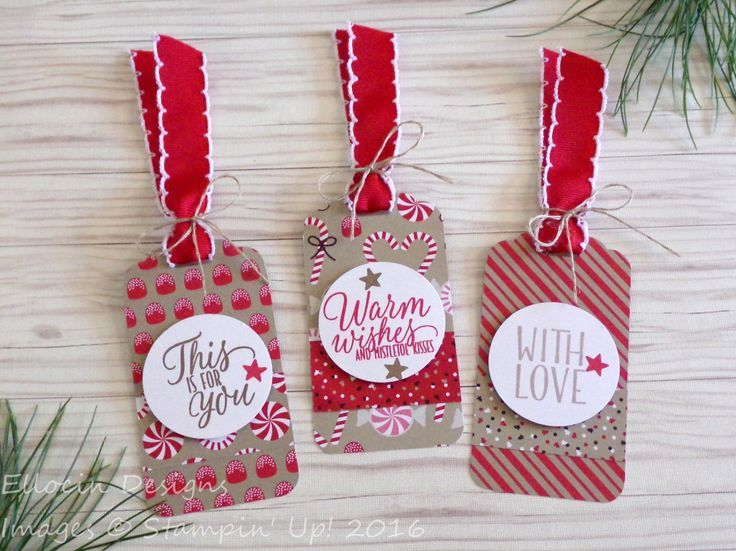 Set of three Christmas gift tags made with Candy Cane Lane Designer Series Paper and Tin of Tags stamp set from Stampin' Up!
