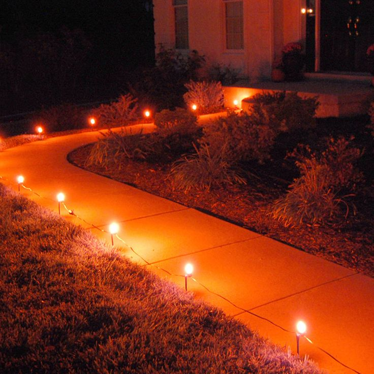 Electric Pathway Lights Halloween Christmas Outdoor Walkway Decoration, Orange #ElectricPathwayLights
