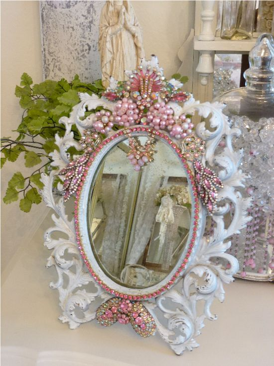 Bejeweled Pink Shabby Romantic Antique Mirror-Weiss, Juliana Bejeweled Mirror $360.00 Wont last long!