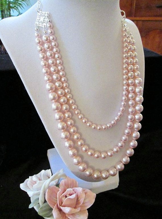 Three Strand Pink Pearls Silver Necklace Multi Strand