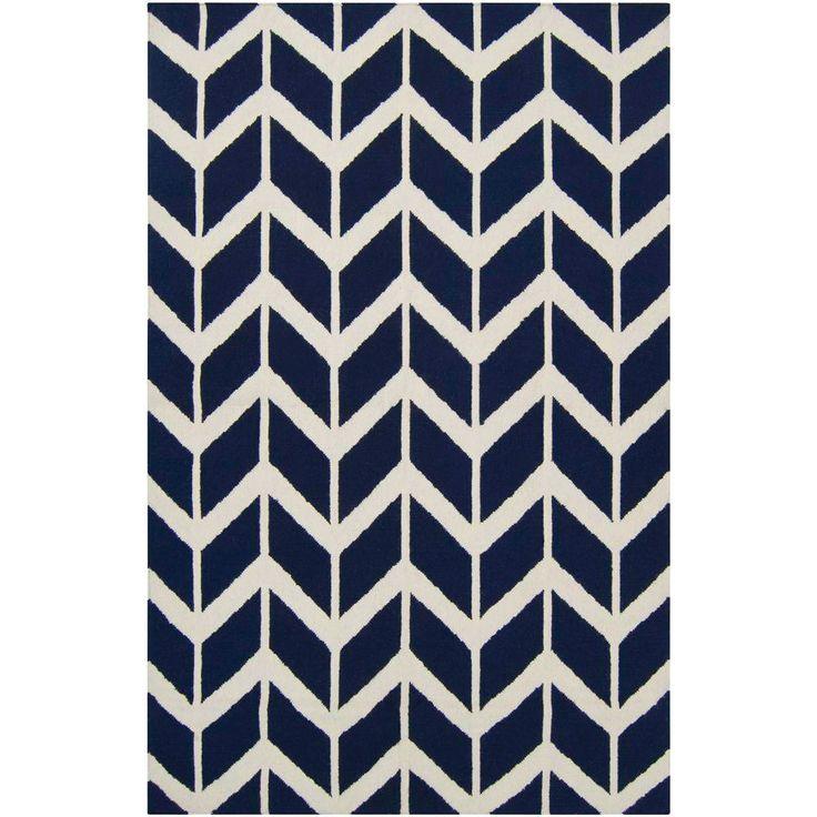 Captivating Fallon Zig Zag Federal Blue Hand Woven Wool Rug SUFAL1055