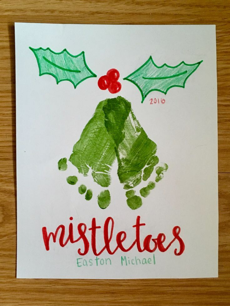 Christmas footprint art, DIY mistletoes craft for baby keepsake