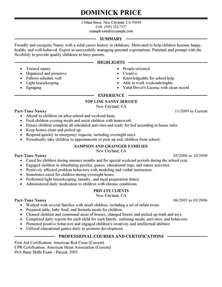 best part time nanny resume example