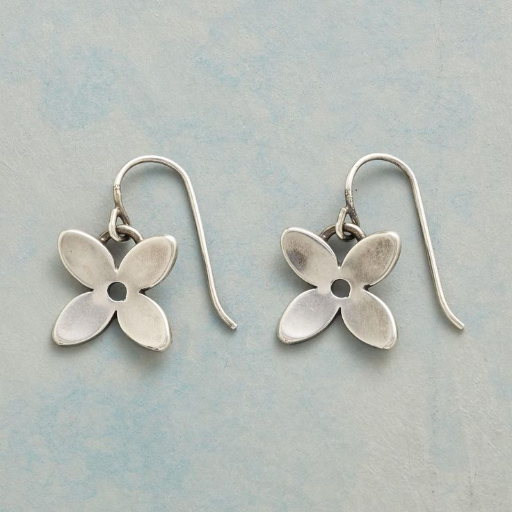 "DANICA EARRINGS -- Brushed sterling silver blossoms find their influence in the uncomplicated lines of Scandinavian design. French wires. Handcrafted in USA. 1-1/2""L."