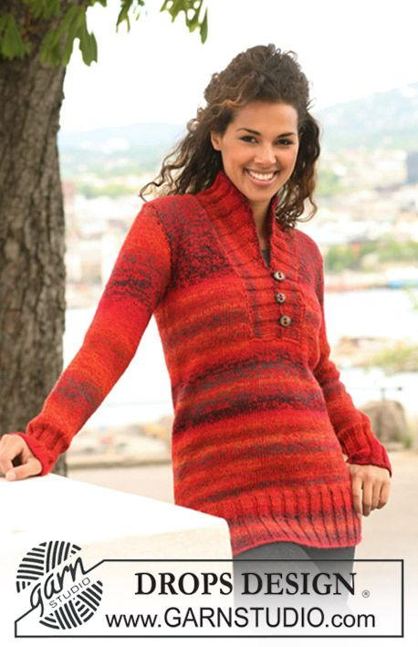 """Autumn Sunset - Knitted DROPS jumper in """"Delight"""" and """"Alpaca"""" with shawl collar. Size S to XXXL - Free pattern by DROPS Design"""