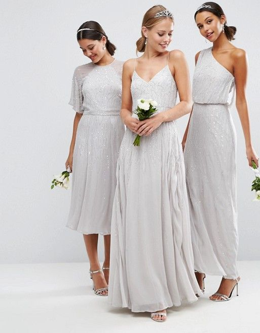 Silver Sequin Bridesmaid Dresses. Silver and sequined bridesmaid dresses for weddings. A style idea by Dress for the Wedding for silver sequin mismatched bridesmaid dresses, or sequin gowns for bridesmaids to wear.