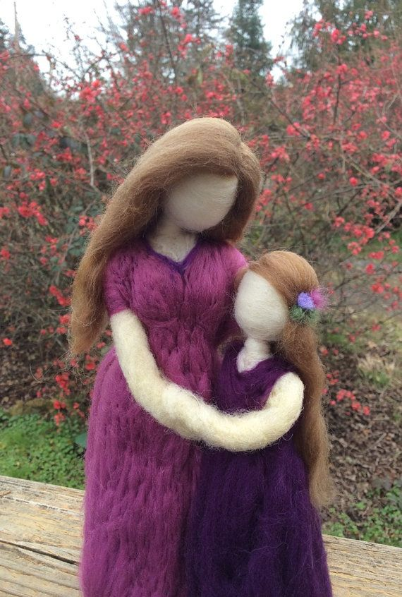 Custom Mother and child needle felted figure ♡ by radishwoolworks