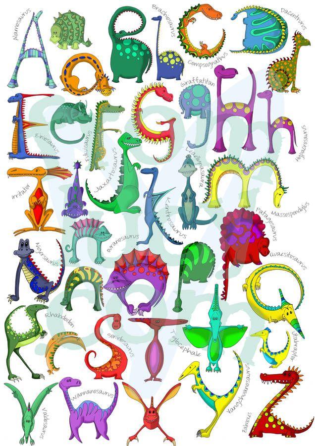 Personalised Dinosaur Name Print Alphabet