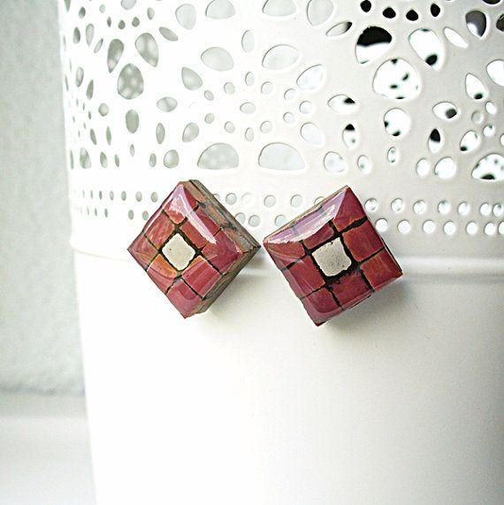 Crimson Earrings Deep Red Studs Maroon Ear Posts by StudioLadybird, $25.00