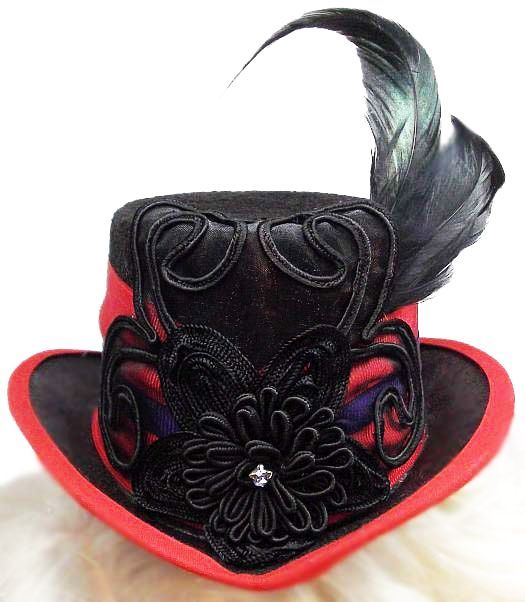 Ruby Bloom Gothic Red Steampunk Fasinator Top Hat-Headwear