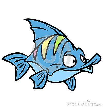 Fish funny  cartoon illustration  isolated image character