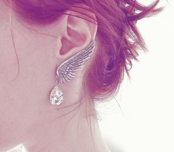 Silver Wing Earrings Swarovski Crystal Drop Clip On Bridal Jewelry on Etsy, $66.49