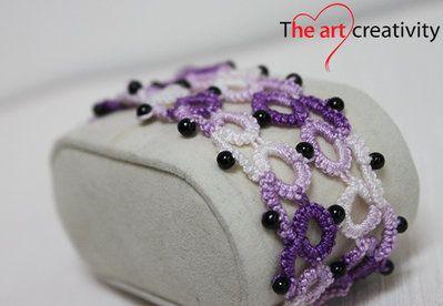 Bracciale sfumato dal viola al bianco con perle nere con tecnica chiaccherino. #bracciale #chiaccherino #tatting #viola #bianco #cotone #lotrovisuMissHobby