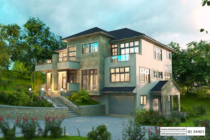 4 Bedroom House Design Id 34401 Hillside House Garage House Plans Contemporary House Plans
