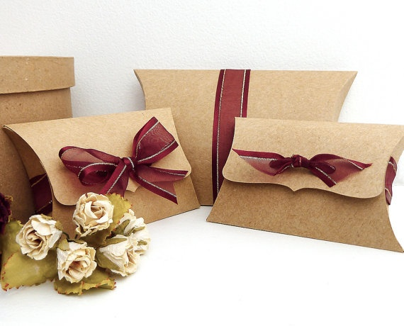 Diy Wedding Gift Box: Kraft Pillow Boxes, 10 Medium Ribbon Tie, Gift Card Holder