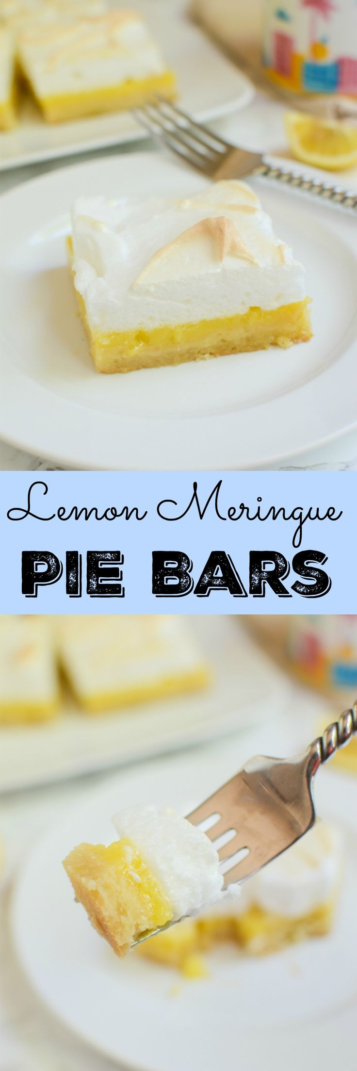 Lemon Meringue Pie Bars - buttery shortbread crust with tart lemon filling, topped with fluffy meringue!